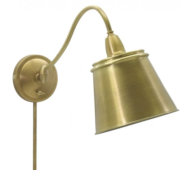 House of Troy Hyde Park Wall Lamp Weathered Brass w/Metal Shade