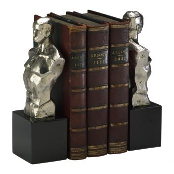 "Cyan Design Hercules 9"" Bookends in Nickel (Set of 2)"