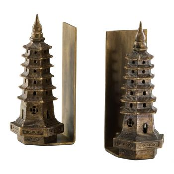 "Cyan Design Pagoda 10"" Iron Bookends in Gold Leaf (Set of 2)"