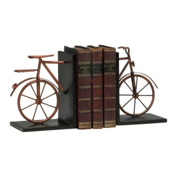 "Cyan Design Bicycle 8.25"" Iron Bookends in Muted Rust (Set of 2)"