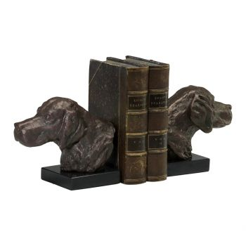 Cyan Design Hound Dog Cast Iron and Marble Bookends in Bronze (Set of 2)