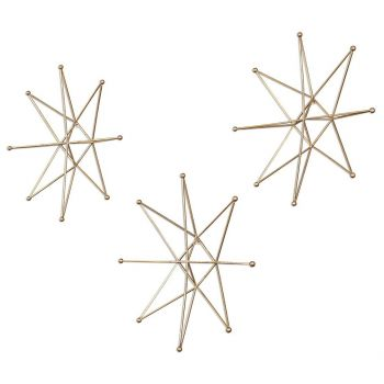 """Uttermost Gold Stars 18.5"""" Wall Art in Bright Gold Leaf (Set of 3)"""