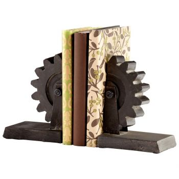 "Cyan Design Gear 7"" Iron Bookends in Raw Steel"