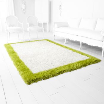 "Cyan Design Kendal 120"" Rug in White/Lime Green"