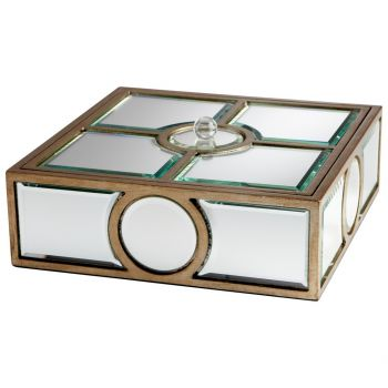 """Cyan Design Through The Lens 10"""" Mirrored Glass Container in Clear/Gold"""