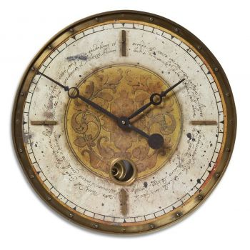 "Uttermost Leonardo 18"" Wall Clock in Weathered Laminate/Cast Brass"