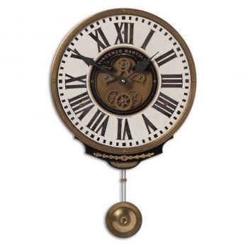 "Uttermost Vincenzo Bartolini 17"" Wall Clock in Weathered Laminate/Brass"