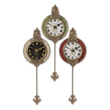 """Uttermost Monarch 11"""" Wall Clock in Weathered Laminate/Cast Brass"""