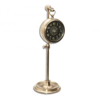 "Uttermost Pocket Watch 12"" Table Clock in Brass Woodburn"