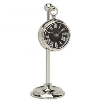 "Uttermost Pocket Watch 12"" Black Table Clock in Nickel Plated Brass"
