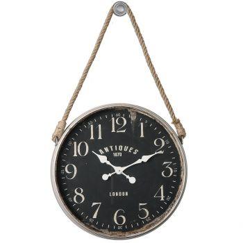 "Uttermost Bartram 41"" Wall Clock in Matte Black w/ Rope Accent"