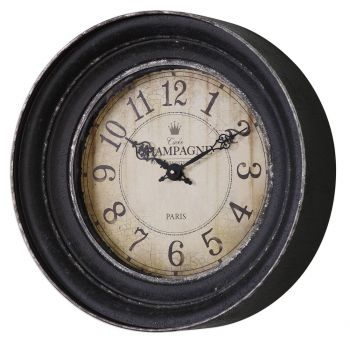 Uttermost Melania Crackled Cream Face Wall Clock in Aged Black