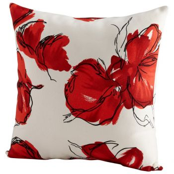 "Cyan Design Crimson Petal 22"" Pillow in Red/White"