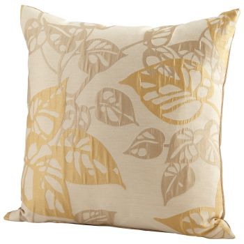 "Cyan Design Ecru Oak 22"" Pillow in Gold"