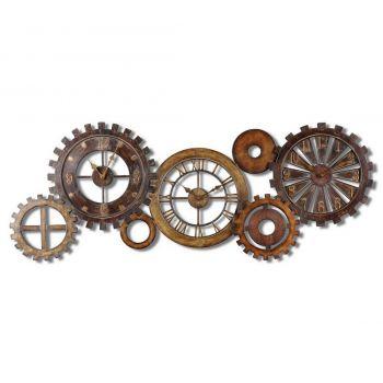 """Uttermost Spare Parts 54"""" Wall Clock in Dark Chestnut Brown/Antique Gold"""