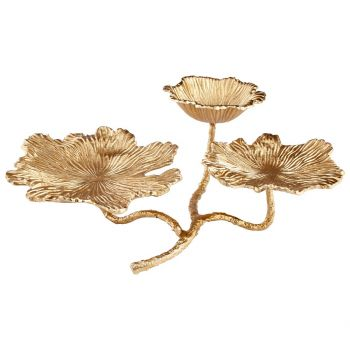 """Cyan Design Flowers and Flames 21.25"""" Candleholder in Gold"""