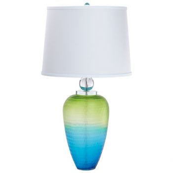 "Cyan Design Puffer 31.75"" White Cotton Shade Table Lamp in Green/Blue"