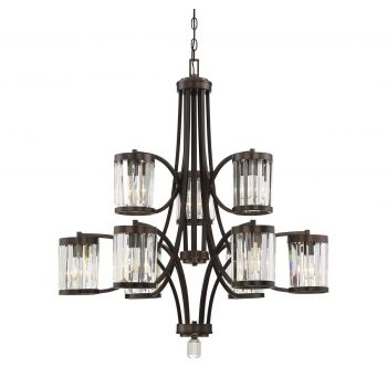 Savoy House Nora 9-Light Chandelier in Burnished Bronze