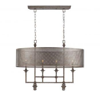 Savoy House Structure 4-Light Chandelier in Aged Steel