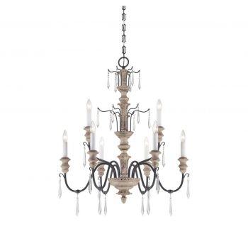 Savoy House Madeliane 9-Light Chandelier in Wood & Iron