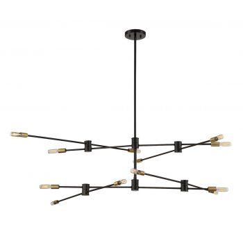 Savoy House Lyrique 12-Light Chandelier in Bronze w/ Brass Accents