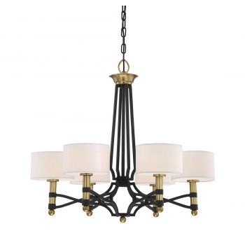 Savoy House Exeter 6-Light Chandelier in Carbon w/ Warm Brass accents