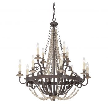 Savoy House Mallory 12-Light Chandelier in Fossil Stone