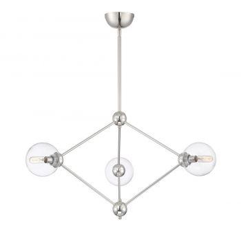Savoy House Bonn 3-Light Chandelier in Polished Nickel