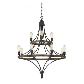 Savoy House Turing 12-Light Chandelier in Whiskey Wood