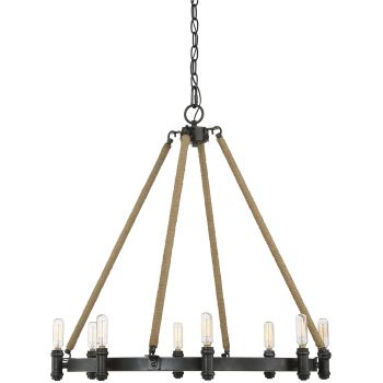 "Savoy House Piccardy 26"" 8-Light Chandelier in w/ Rope Rustic Black"