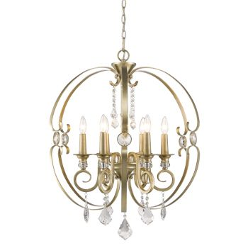 Golden Lighting Ella 6-Light Chandelier in White Gold