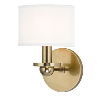 Hudson Valley Kirkwood Wall Sconce in Aged Brass w/ White Shade