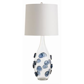 "Arteriors Edge 33.5"" Table Lamp in Clear/Naxy Blue Glass"