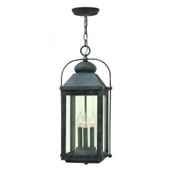Hinkley 1852DZ Anchorage 3-Light Outdoor Hanging Light in Aged Zinc