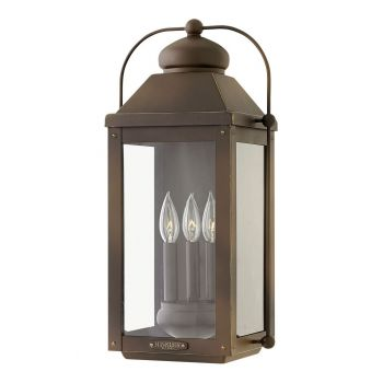 Hinkley Anchorage 3-Light Outdoor Large Wall Sconce in Light Oiled Bronze