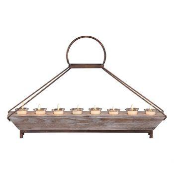 """Uttermost Benigna 28.5"""" 8-Tea Light Candleholder in Natural Fir Wood"""