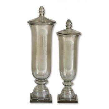Uttermost Gilli Set of 2 Glass Decorative Containers