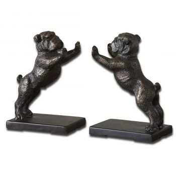 "Uttermost Bulldogs 6.5"" Bookends in Golden Bronze Cast Iron (Set of 2)"