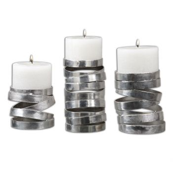"Uttermost Tamaki 7.88"" Candleholders in Metallic Silver (Set of 3)"