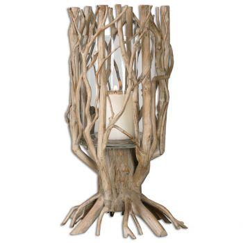 """Uttermost Ugo 22.88"""" Candleholder in Natural Wood"""