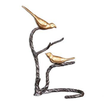 "Uttermost Birds On A Limb 18.25"" Sculpture in Wrought Iron/Metallic Gold"