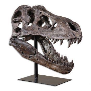 """Uttermost Tyrannosaurus 19.75"""" Sculpture in Chestnut Brown"""