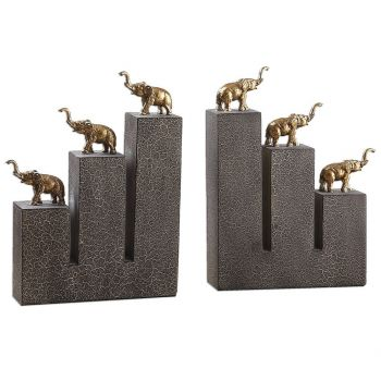 "Uttermost Elephant 10"" Bookends in Antique Gold (Set of 2)"