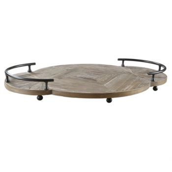 """Uttermost Baku 26"""" Tray in Natural Reclaimed Pine Wood"""