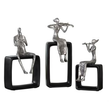 Uttermost Musical Ensemble Statues in Polished Aluminum (Set of 3)
