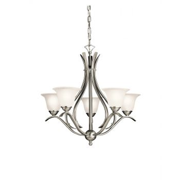"Kichler Dover 5-Light 24"" 1-Tier Medium Chandelier in Brushed Nickel"