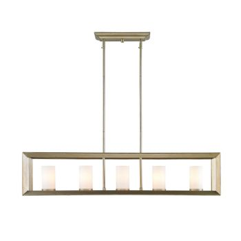 Golden Lighting Smyth 5-Light Linear Pendant in White Gold w/ Opal Glass