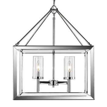 Golden Lighting Smyth 4-Light Chandelier in Chrome with Clear Glass