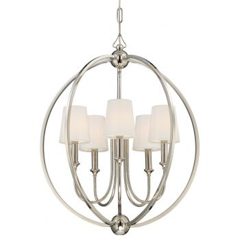 Crystorama Sylvan 5-Light Chandelier in Polished Nickel