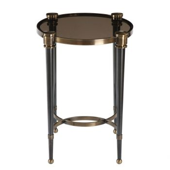 """Uttermost Thora 18.75"""" Smoke Glass Accent Table in Brushed Black/Brass"""